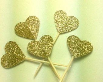 Gold glitter heart cupcake toppers party decorations double sided - set of 24