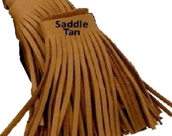 "Tandy Leather Saddle Tan Deertan Fringe 4"" x 5/32"" fringe in a 36"" (91,4 cm) length strip 5035-54"