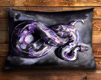 pillow cover, man pillow case, gift for him, gift idea, husband, cushion cover, snake gift, purple, teen boy gift, boys room, gift idea