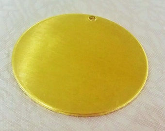 5 Pcs Raw Brass 32 mm Round Stamping Blank Disc ( 1 Hole -Thickness Of 1 mm ) 18 Gauge