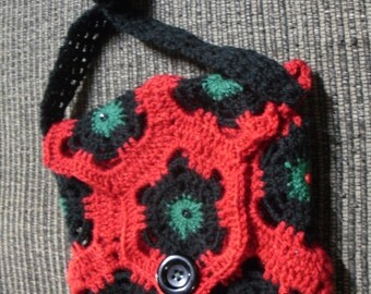 Red Black and Green Button purse