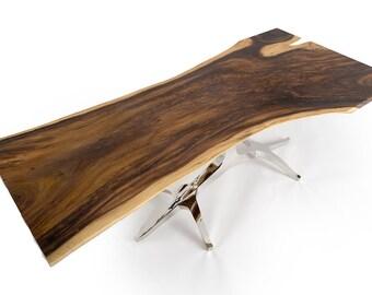 Rustic Live Edge Teak Dining Table 8ft SKU 1602-12
