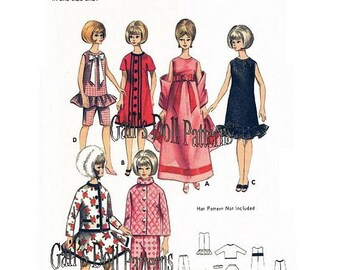 "Vintage Butterick Pattern 3761 for Barbie Dolls and other 11-1/2"" Fashion Dolls"
