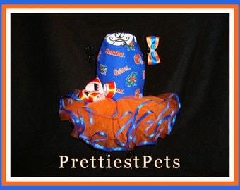 University of Florida Florida Gators Dog Dress Florida Gators Tutu Florida Gators Harness Style Pet Dress with Bonus Hair Bow!
