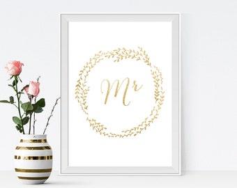 mr sign, wedding mister sign, wedding groom sign, gold wedding DIY printable, INSTANT DOWNLOAD