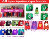 Kids Superhero Capes - Ironman, Spiderman, Captain America, Spidergirl, Hulk, Avengers - Birthday Party Favors