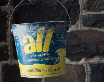 Vintage 1950s All Detergent Steel Bucket/Industrial Design