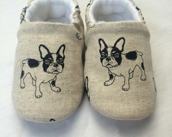 Soft sole french bulldog baby shoes, crib shoes, slip on shoe. New Baby gift. Baby boys cotton slip on shoe, cloth shoe.