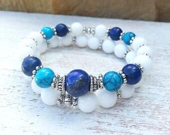 Lapis White Jade Yoga Mala Stack  Bracelet, Spiritual, Bohemian Jewelry; Item: 81d