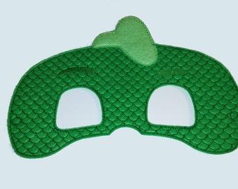Gecko Felt Embroidered Mask - Green Gecko Mask - Kid & Adult - Halloween Costume - Creative Play