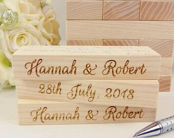 """Custom Ash Wood """"Jenga"""", Wedding """"Jenga"""", Wedding Guest Book Alternative, Custom Engraved """"Jenga"""", Wedding Gift, Rustic Wedding Guest Book"""