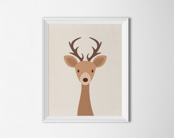 Deer printable, Deer Nursery printable, antlers print, deer nursery Decor, deer wall art, nursery deer wall art, antlers decor, woodland art