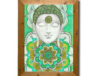 Buddha Painting Art Large Canvas PRINT Turquoise Green Home decor, Mandala Illustration Zentangle Art Decor, Buddhist Wall Decor Mural Art