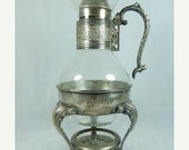 Storewide 30% Off SALE Antique Silver Plated Turkish Warming Pitcher Service Featuring Glass Carafe Flask And Candle Holding Warmer Tray Com