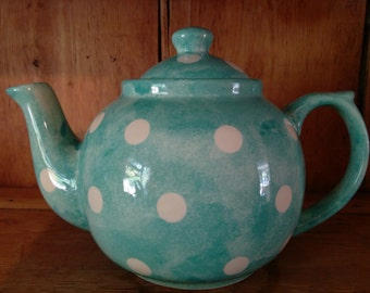 Hand Painted Polka Dot TeaPot available in 2 sizes, 12 cm or 16 cm matching kitchenware available.