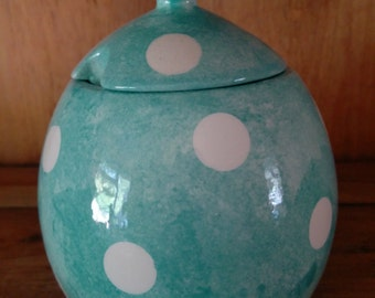 Hand Painted Polka Dot Design Sugar Bowl or Sweetie Jar Matching Kitchenware Available Various Colours Available