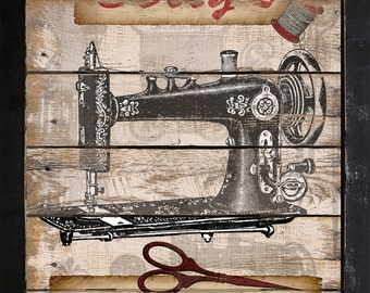 Personalized Vintage Style Sewing Machine Crafting Scrapbooking Craftroom Art