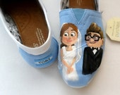 Bride's UP Wedding Shoes, Bride's shoes, Painted TOMS custom wedding shoes, Gift for Bride, Carl & Ellie, engaged, she said yes, summer