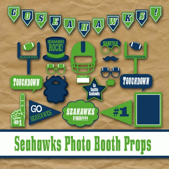 Seattle Seahawks Football Printable Photo Booth Props