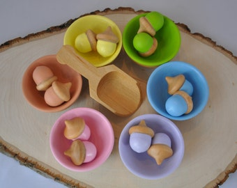 Pastel Sorting Acorns - A Waldorf and Montessori Inspired Educational Spring Toy - Easter Toy