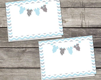 Blue and Grey Baby Shower Food Tent Labels or Cards - Place Cards - Blue and Grey - - Blank Folded Cards - Baby-154