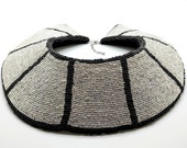 Silver and Black Seed Bead Bib Necklace, Hand Beaded and Lined