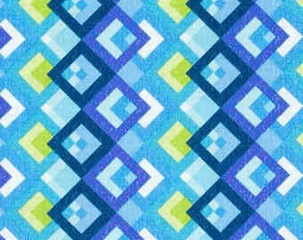 blue Fabric | Boxed In Blue/Green | sold by the Fat Quarter