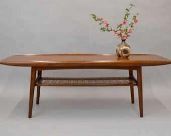 "SALE!!! Mid-Century Danish Teak & Cane ""Surfboard"" Coffee Table"