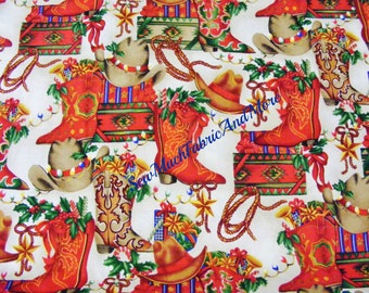 Lone Star Western Christmas fabric~by 1/2 yd~Cowboy Boots & Hats~Gifts~Southwestern~Country