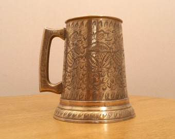 Mug / Cup /Tankard    Y.C. INDIA 242     Solid brass Vintage    Detailed floral pattern    Made in India