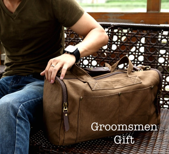 Groomsmen Gift Bag Canvas Duffle Bag Personalized Groomsmen Gift Canvas Weekender Bag Duffle Tote Wedding Gift Luggage Groomsmen Gift