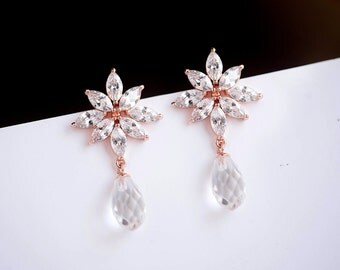 Wedding Earrings, Sparkly Cubic Zirconia Rhinestone Dangle Earrings, Bridal Jewelry Statement Wedding Earrings