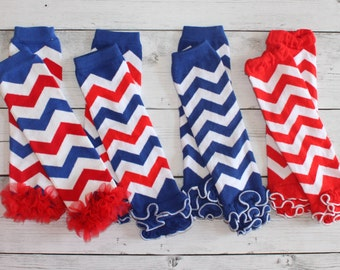 Patriotic Chiffon Ruffled Leg Warmers Leggings Legwarmers Baby Infant Girls 4th of July Americana