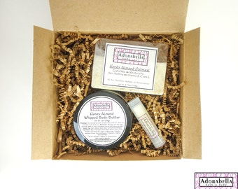 Honey Almond Body Butter Gift Set / Body Butter Gift Set / Soap Gift Set / Honey Almond Bath and Body Gift Set / Gift Set Honey Almond / Spa