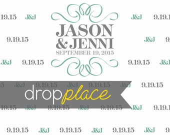 CUSTOM Personalized Vinyl Backdrop Step & Repeat Wedding Anniversary Photo Booth Backdrop Bridal Shower Baby Shower Graduation Drop 6x8