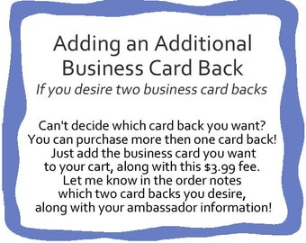 DIGITAL** Adding an Additional Business Card Back - *DIGITAL* PDF File Only