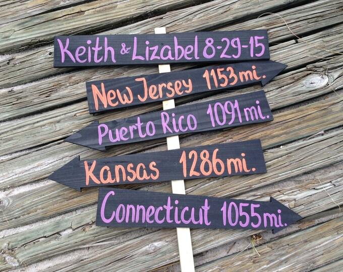 Purple Orange Wedding Decorations, Rustic Arrow Mileage Sign, Beach Wedding Decor, Wedding Directional Sign