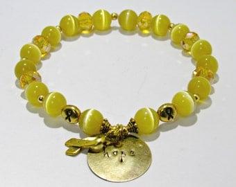 Childhood Cancer Bracelet, Childhood Cancer Awareness, Gift For Her, Awareness Bracelet, Gold Bracelet, Awareness Ribbon, Hope Bracelet