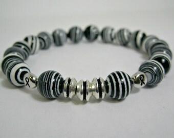 Mans Zebra Bracelet, Neuroendocrine Cancer Awareness Bracelet, Carcinoid Awareness Bracelet, Carcinoid Syndrome Bracelet, Zebra Jasper