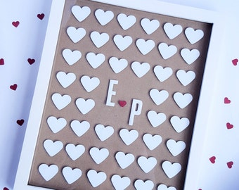 Wedding Guest book alternative, Framed 3D signature hearts for wedding party.