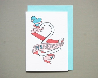 2nd anniversary card * anniversary card * friends anniversary * wedding anniversary * wife husband * size A6 comes with blue envelope