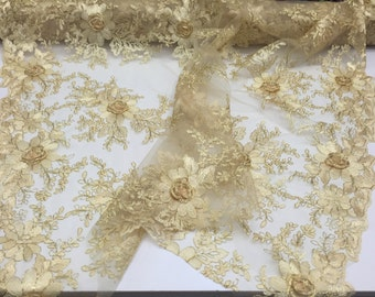 Daisy flower design mesh metallic lace fabric gold. Sold by the yard