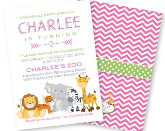 Birthday Invitation for Girl 5x7 with Two Sides - Pink Chevron and Zoo Animals - Customized DIGITAL FILE for Printing