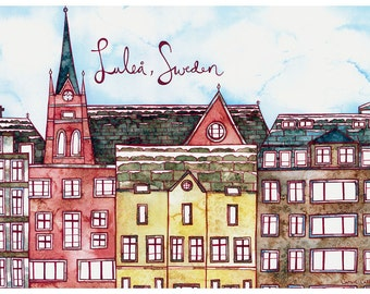 LULEA SWEDEN Print 11X14 Ink and Watercolor Painting