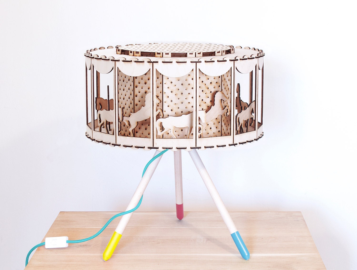 Carousel table lamp nursery decor diy gift for baby shower zoom geotapseo Gallery