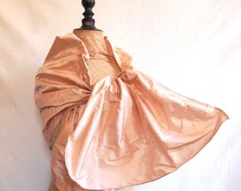 Silk wrap shawl available in light pink or white