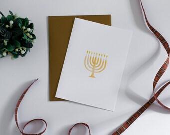 Holiday Greeting Card - Hanukkah Menorah Card