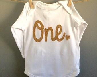 First Birthday Shirt/Onesie, One Shirt, First Birthday Outfit, Gold One Shirt/Onesie