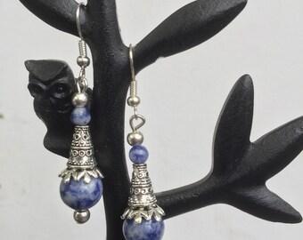 Blue Spot and Tibetan silver earrings