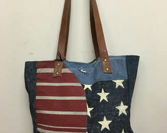 Awesome up cycled  canvas Bag with Leather trim!!!!!
